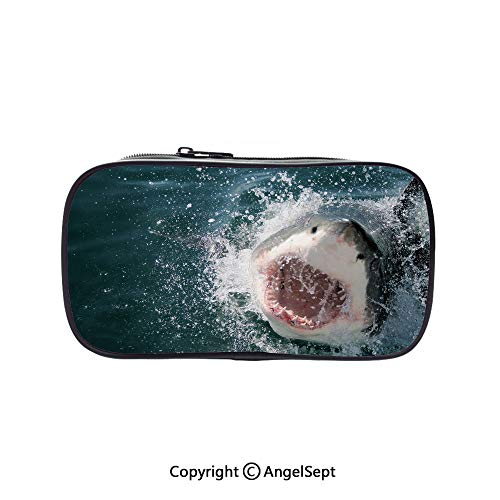 (Cute Pencil Case - High Capacity,Wild Animal in The Sea Attacking Showing The Mouth and Teeth Scary Print Decorative Petrol Blue Grey White 5.1inches,Multifunction Cosmetic Makeup Bag,Perfect)