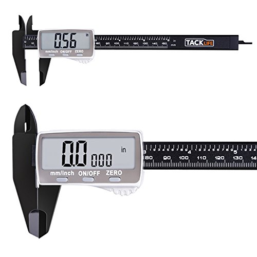 Calibration Tool (Tacklife DC01 Digital Caliper Carbon Fiber / Plastic 6 Inch with 2 inches Wide Super Clear Display Inch/Fractions/Millimeter Conversion)