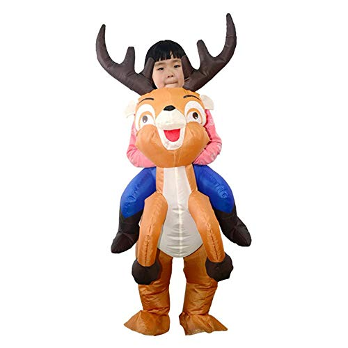 Inflatable Elk Costume for Kids, Air Suits with Blower Christmas Reindeer Party Toy Costume -