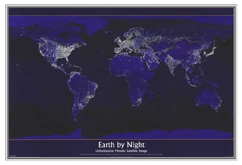 Earth by Night Framed Poster - Quality Silver Metal Frame 36