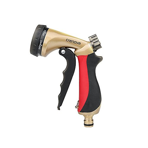 Spray Nozzle | Crenova HN-05 Garden Hose Nozzle Sprayer Gun - 7 Spraying Modes - Easy Flow Control Knob - Metal Nozzle High Pressure for Car Washing / Plant Watering / Sidewalk Cleaning / Pet Bathing