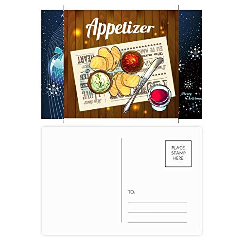 Snowflake Appetizer - Appetizer Slice of Bread Wine Christmas Snowflake Postcard Thanks Card Mailing 20pcs