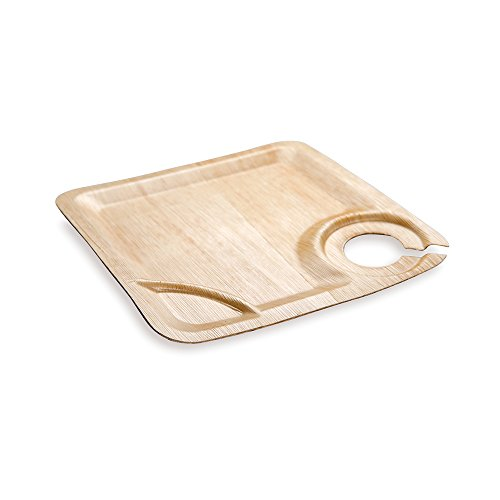 (Bamboo Plate with Cup Holder, Party Plate with Cup Holder, Square Bamboo Leaf Plate - 9