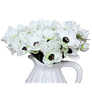 En Ge 10 Stems Mini Artificial Poppies Real Touch Fake Latex Flowers for Bridal Wedding Bouquet Home Kitchen Desktop Party Decor 5