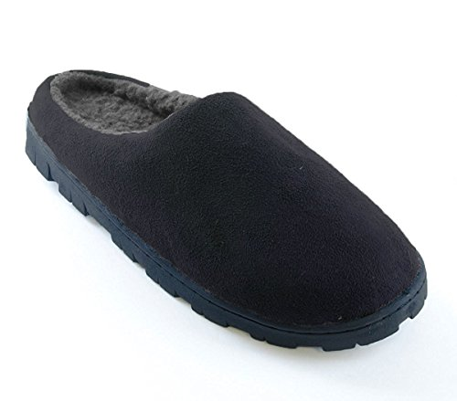 Black Slippers 10 Grey 9 SlumberzzZ Lined Fleece or Polysuede Black Soft Mens qanUXw86