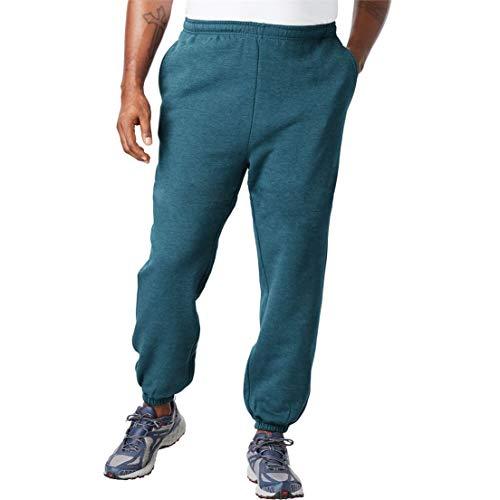 KingSize Men's Big & Tall Fleece Elastic Cuff Sweatpants, Heather Midnight Teal