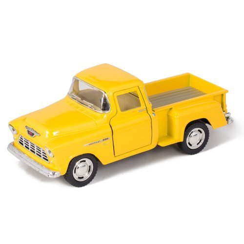 Yellow 1955 Chevy Stepside Pick-Up Die Cast Collectible Toy Truck by Kinsmart