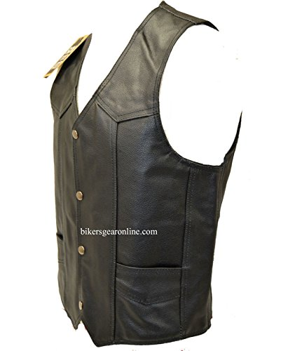 MEN'S MOTORCYCLE BIKERS COWHIDE PLAIN LEATHER VEST W/ 2 GUN POCKETS BLACK (48 Regular)