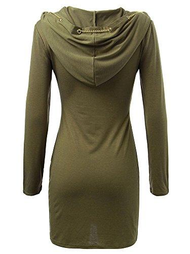 Bodycon Hooded Long Chain Casual Women Metallic Green Army Sleeve Dress wqHPwfYxC