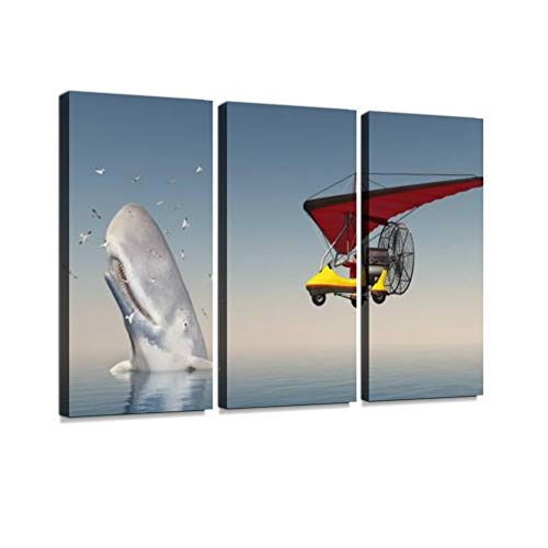 7houarts Ultralight Trike and Sperm Whale Surrounded by Seagulls Canvas Wall Artwork Poster Modern Home Wall Unique Pattern Wall Decoration Stretched and Framed - 3 Piece