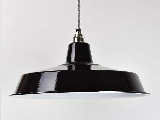 Pantalla para lámpara de techo, color negro, esmalte industrial, estilo vintage de fábrica: Amazon.es: Iluminación