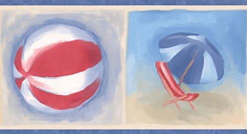 """ビーチサンダルボールチェア傘バケツとシャベルブルーレッドベージュ壁紙ボーダーキッズバスルームベッドルームロール15 'x 5 """""""