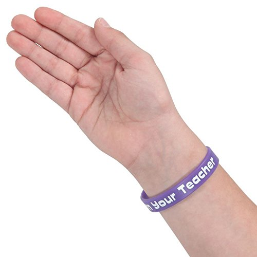 Really Good Stuff Happy Birthday from Your Teacher Silicone Bracelets Set of 24