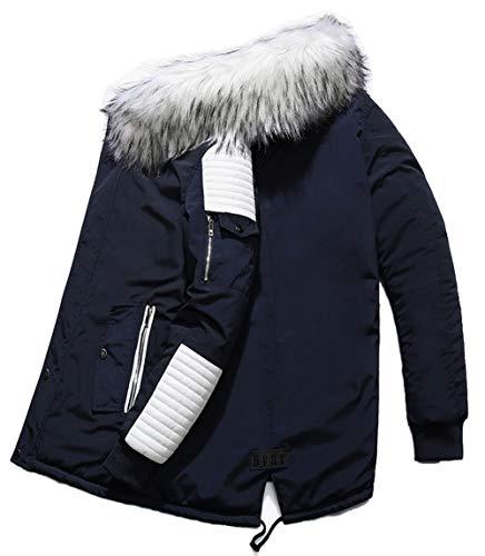 Blouson Manteau Qualité Capuche Homme Chaud D'hiver À Haute Parka Blanc Veste Bleu Fourrure wpYx4v8pq