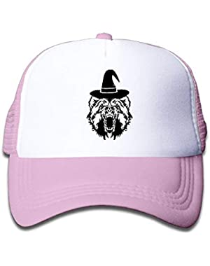 Bear with Witch Hat On Children's Trucker Hat, Youth Toddler Mesh Hats Baseball Cap