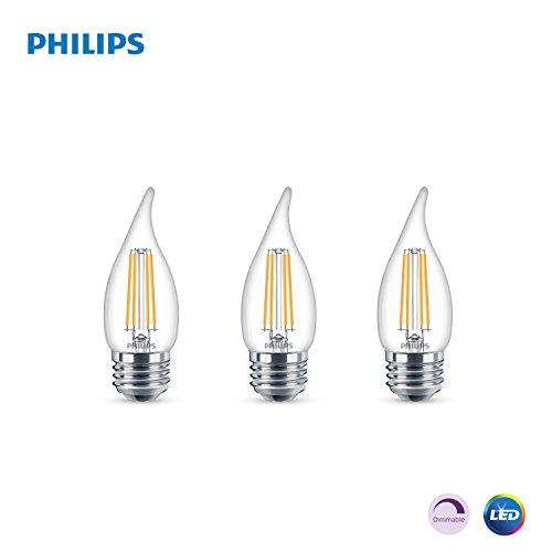 (Philips LED Classic Glass Dimmable BA11 Bent Tip Light Bulb: 500-Luman, 5000-Kelvin, 5.5-Watt (60-Watt Equivalent), E26 Base, Clear, Daylight, 3-Pack)