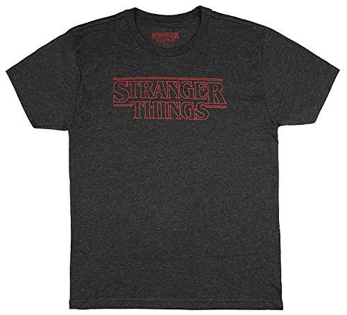 Hybrid Stranger Things Men's Shirt - Officially Licensed Logo Heather T-Shirt Top (X-Small)