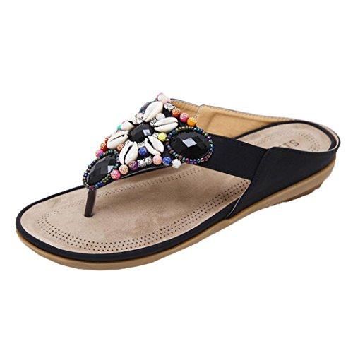 フラットサンダルの女性、女性のビーチフラットシューズビーズボヘミアLady Slippeサンダルリベットpeep-toeアウトドアラインストーンフリップフロップソング靴