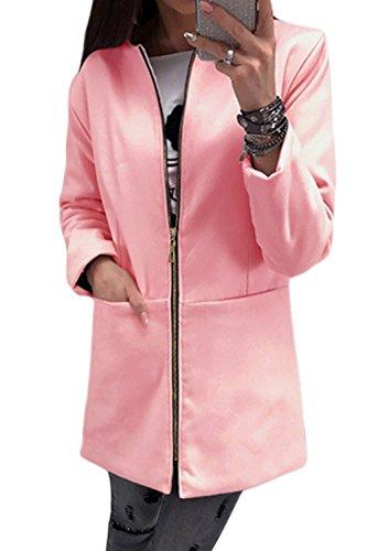Chaqueta Bolsillos Scoop Cuello Full Redondo Es Pink Up Otoño La Mujer Con Zip Elegante Larga qnaOxtBv