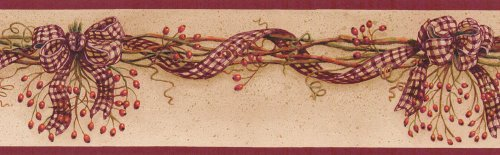 Rosehip Red Country Check Garland Wallpaper Border by Blonder Home (Rose Hip Garland)