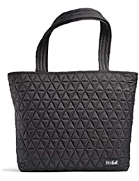 Deluxe 2 in 1 Quilted Tote Bag with Insulated Lunch Compartment, Professional Tote for Work, Black