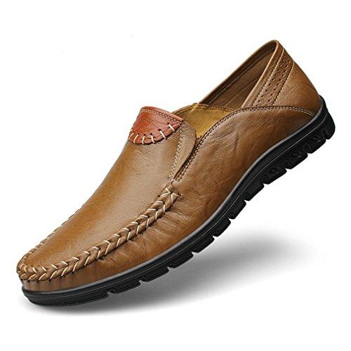地味な荷物嫌がらせ[QIFENGDIANZI]メンズシューズ ドライビングシューズ かかと踏める 紳士靴 大きいサイズ ビッグサイズ 滑り止め 快適な履き心地 通気性抜群 かっこいい お洒落 通勤用 ブルー ブラウン カーキ