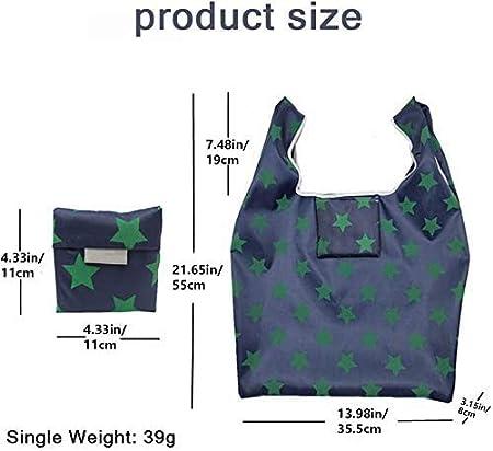 6 piezas Bolsas de supermercado Poli/éster Bolsas de asas reciclables lavables resistentes para almacenamiento en supermercados Uso diario mreechan Bolsa de compras reutilizable plegable