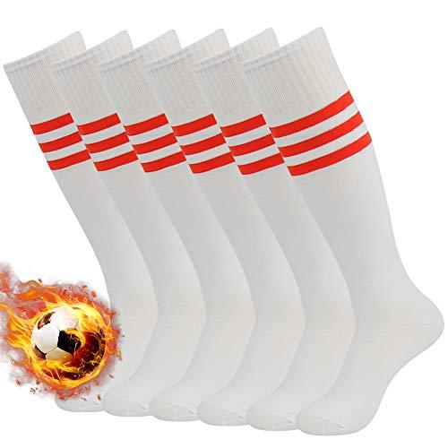 3street Triple Stripe Tube Sock - 6-Pair White+Red Stripe