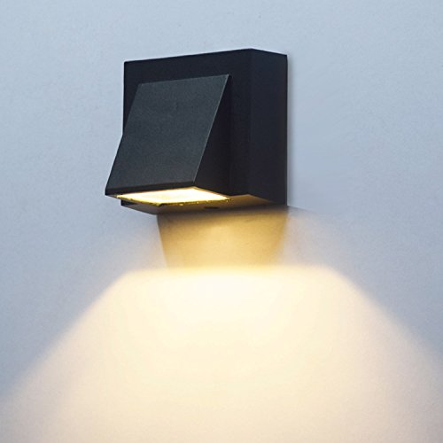 BRILLRAYDO 3W LED Outdoor Exterior Wall Step Down Light Fixture Lamp Black Finish Warm (220 Black Finish)