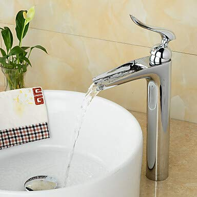 Mangeoo Bathroom Sink Faucet - Waterfall Chrome Centerset Single Handle One Holebath Taps