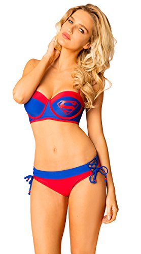 In Gear Superman Under Wire Bustier Lace Up Side Low Rise Bottom Womens Bikini Swimsuit (Small) Red/Blue