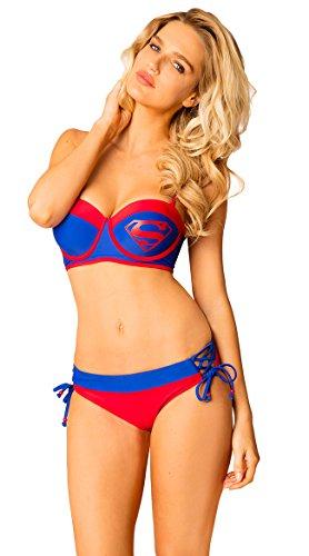 Superman Under Wire Bustier Lace Up Side Low Rise Bottom Womens Bikini Swimsuit XL