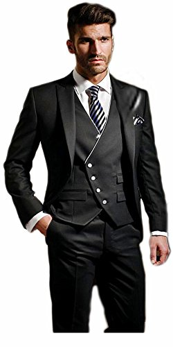 Albrose One Button Groom Groomsman Mens Suits Slim Fit Tuxedos 3 Piece Sets Black Vest - Vested Black Tuxedo