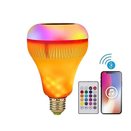 BOLXZHU Smart Light Bulb, LED Music Light Bulb, Bluetooth Speaker Flame Effect Light, E27 RGB Color Changing Light for Home, Bedroom, Living Room, Party -