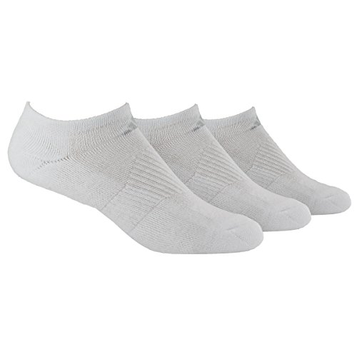 adidas Women's Cushioned No Show Socks (Pack of 3), White/White, One Size