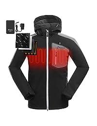 OUTCOOL Men's Heated Jacket Kit with Hood Waterproof Windproof Winter Jacket