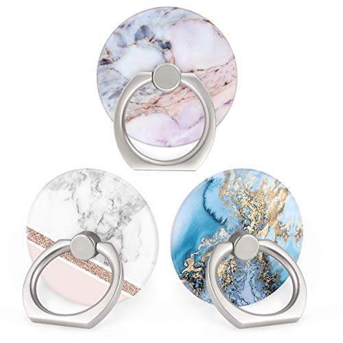 Bonoma Cell Phone Ring Holder Stand, 360 Rotation 3-Pack Universal Smartphone Ring Grip Stand Compatible with Smartphones and Tablets Marble