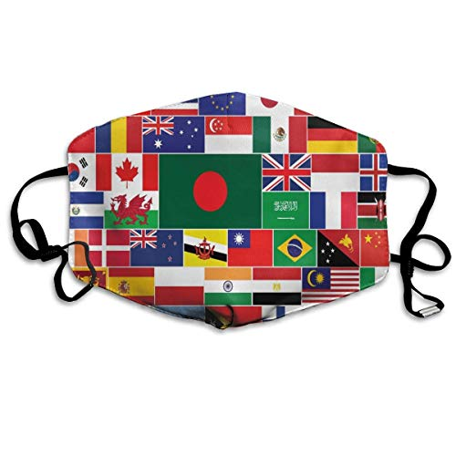 Ideal Gift - Women Men Boys Girls Dustproof National Flag of The World Half Face Mouth Mask Breathable Mouth Muffle for Medical, Travel, Outdoor