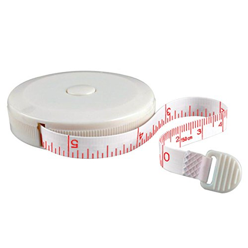 SmarTake Tape Measure, Retractable Measuring Tape, Double-scale(60-Inch/150cm)Soft Sewing Tape with push button, White