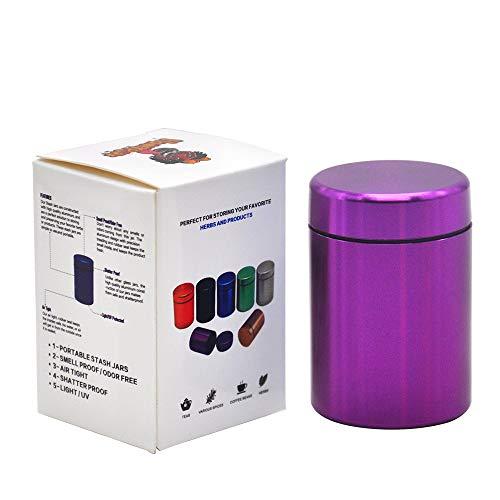 Stash Jar - Airtight Smell Proof Durable Multi-Use Portable Metal Herb Jar Container. Waterproof Aluminum Screw-top Lid Lock Odor -Purple