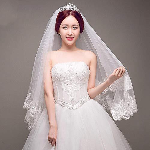 kaige Bridal Veil Veil Headband,White lace Side Double Draped Shoulder Yarn Bridal Wedding Wave Edge Veil