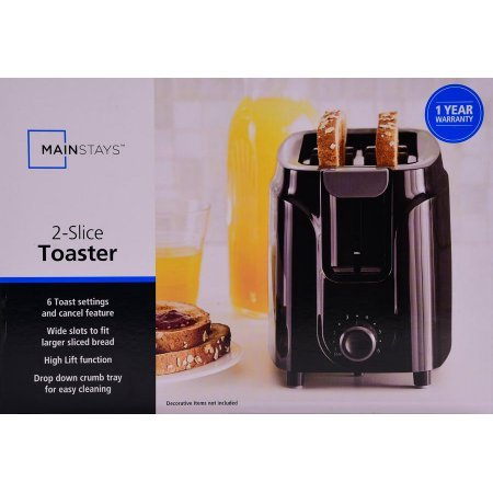 Mainstays 2-Slice Toaster, Black