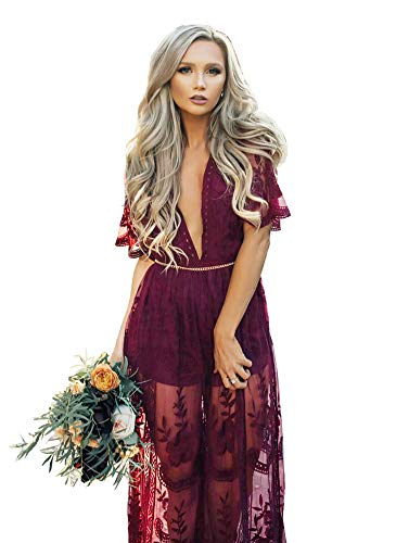 (Eleter Women's Deep V-Neck Lace Romper Short Sleeve Long Dress (L,Wine)