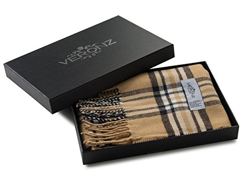 (Veronz Super Soft Luxurious Classic Cashmere Feel Winter Scarf (Camel Plaid))