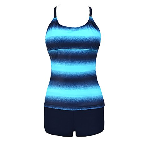 CL Women's Strappy Open Back Colorblock Stripes Printed Top and Black Shorts Tankini Swimsuit Set, Blue, 3XL(14-16) Strappy Short