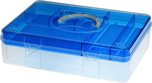 "Livinbox TB 12.8"" x 9.4"" Fun Bear Portable Storage Box with Removable Top Organizer Tray - Blue"
