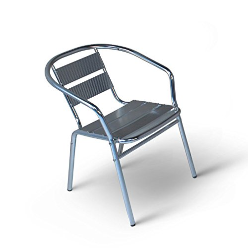 Aluminium Bistro Stacking Chair - Metal Garden Chair - Outdoor Seating For Cafes, Bistros, Balconies and Patios etc BrackenStyle