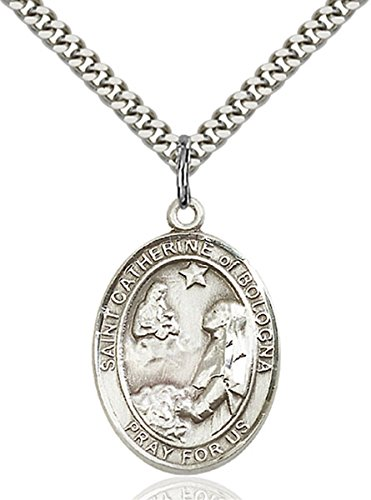 bliss Sterling Silver Saint Catherine of Bologna Medal Pendant, 1 Inch