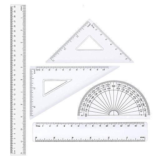 12 inches Plastic Ruler & 6 inch Straight Ruler & Plastic Measuring Tool Strong Hard Protractor Triangle Set (Clear,Pack of 5) ()