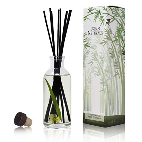 Urban Naturals Lemongrass Verbena Reed Diffuser Scented Sticks Set | (Refresh + Renew) Mind & Body Aromatherapy Collection | Essential Oil Botanical Room Scent